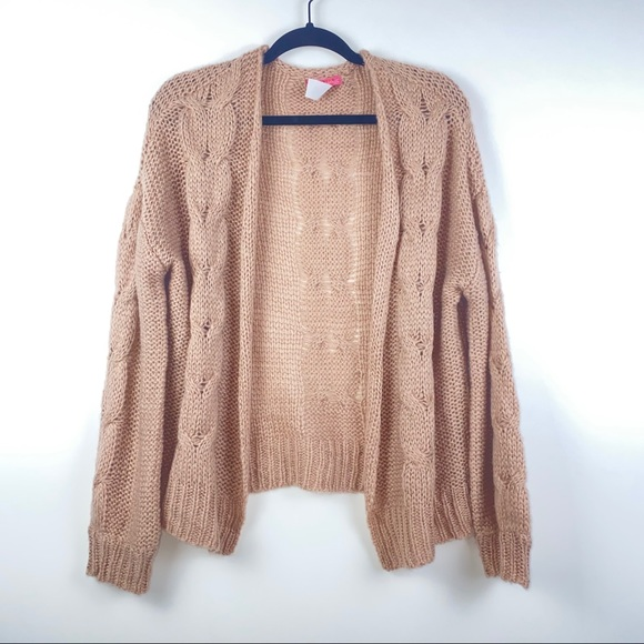 Ragdoll Open Front Knit Cardigan Pink Size large